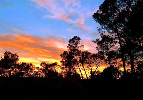 Vue coucher du soleil maison d'hôte de la pinède de Manon Barjols